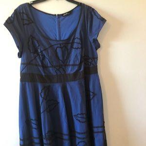Beautiful blue with black lace dress